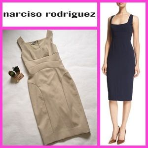 Narciso Rodriguez Bodycon Crepe Sheath Nude Dress